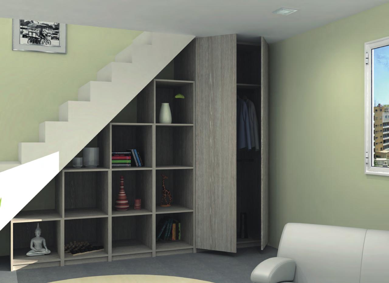 Aménagement et rangement sous un escalier