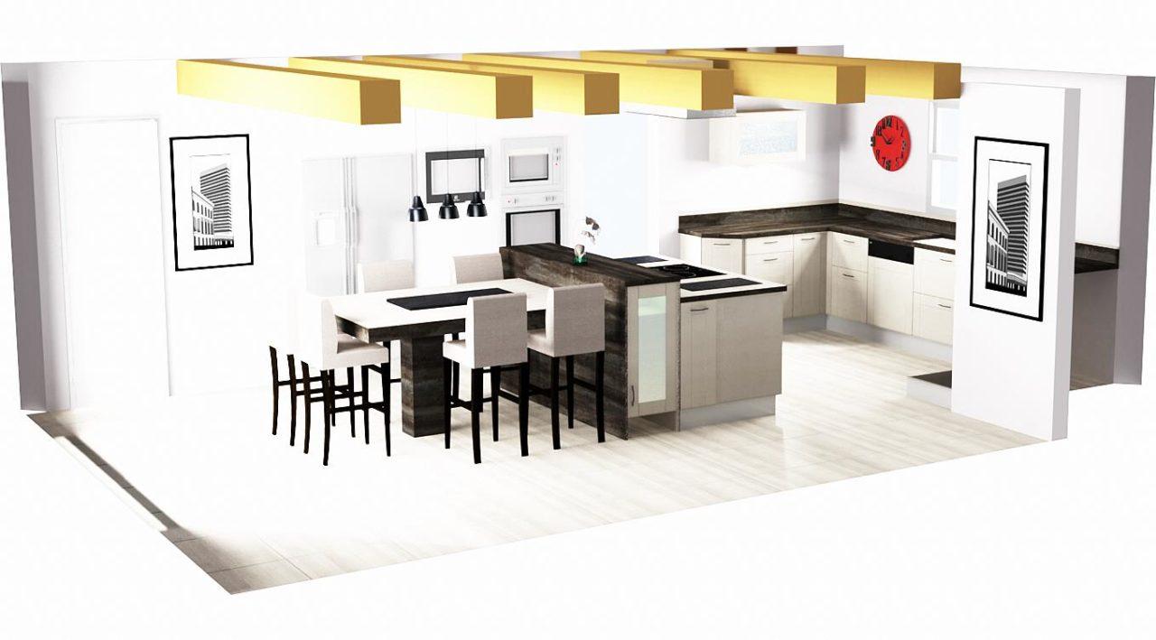 comment am nager une cuisine quip e avec ilot et verriere marie rodrigues cuisine et. Black Bedroom Furniture Sets. Home Design Ideas
