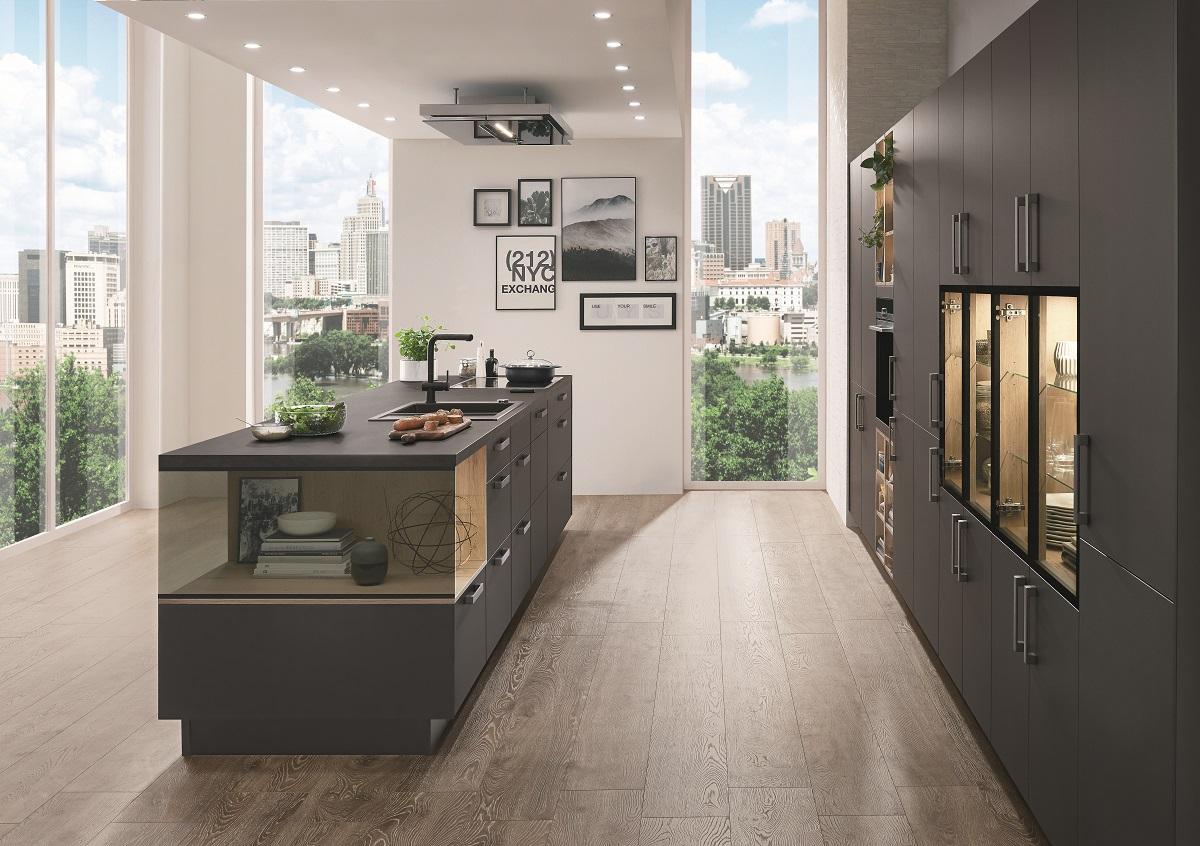 cuisine avec ilot pour optimiser votre espace, portes mat