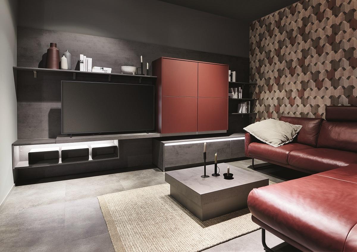 aménagement salon ambiance noire et rouille